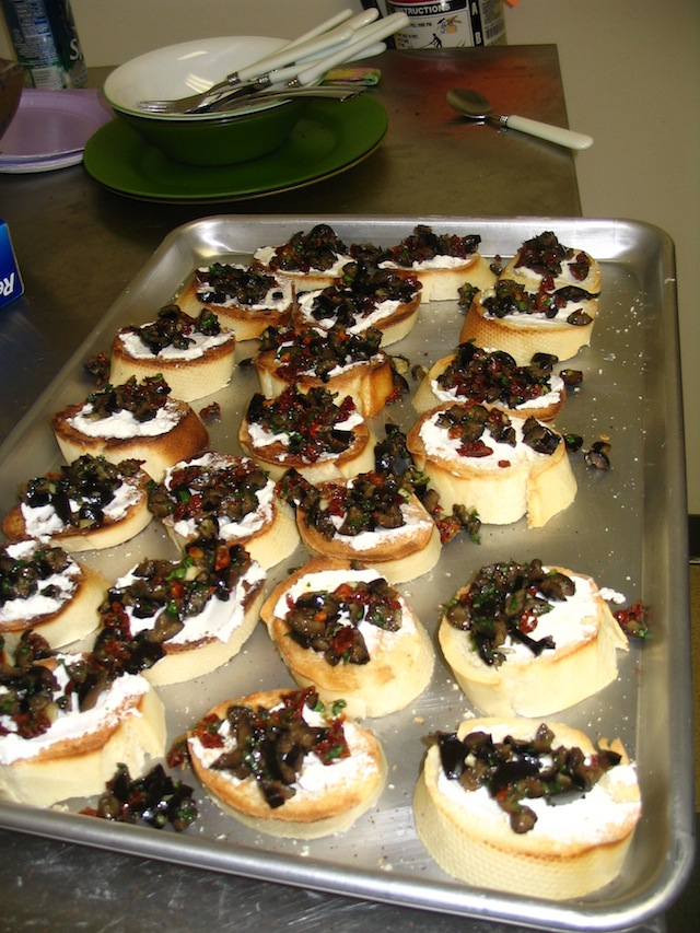 Olive tapenade and goat cheese toasts (Eat Me. Drink Me.)