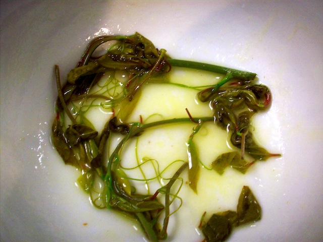 sweet-briar shoots sauteed in butter (Eat Me. Drink Me.)