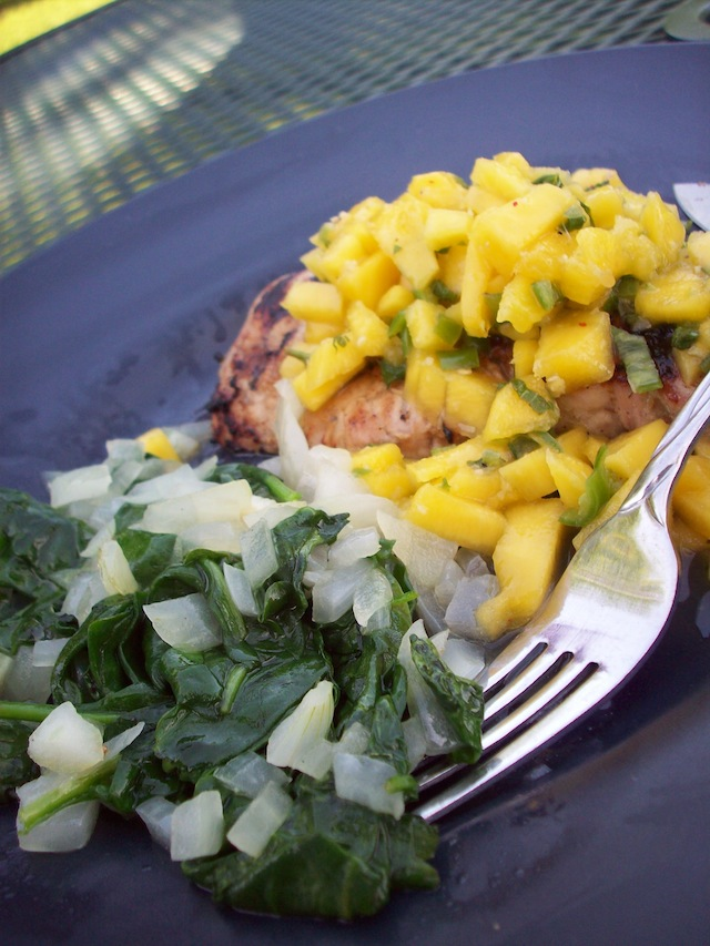Grilled pork chops with mango chutney (Eat Me. Drink Me.)