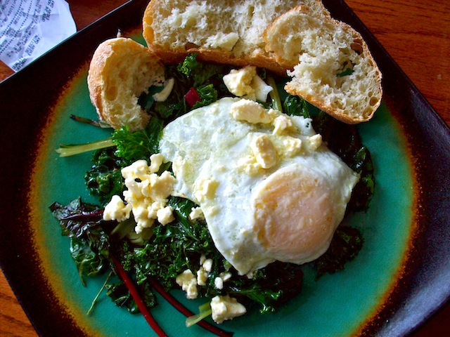 Eggs on greens with feta (Eat Me. Drink Me.)