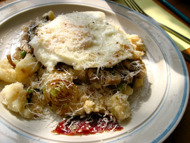 Semolina, mushroom and onion hash (Eat Me. Drink Me.)