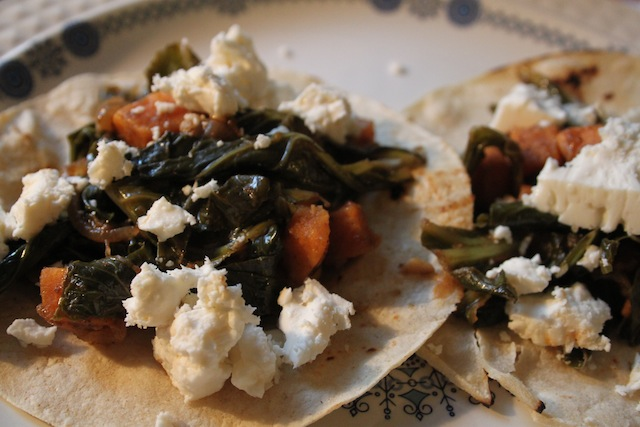 Tacos with sweet potato and collards (Eat me. Drink Me.)