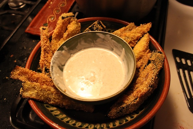 Fried eggplant with buttermilk-garlic sauce (Eat Me. Drink Me.)