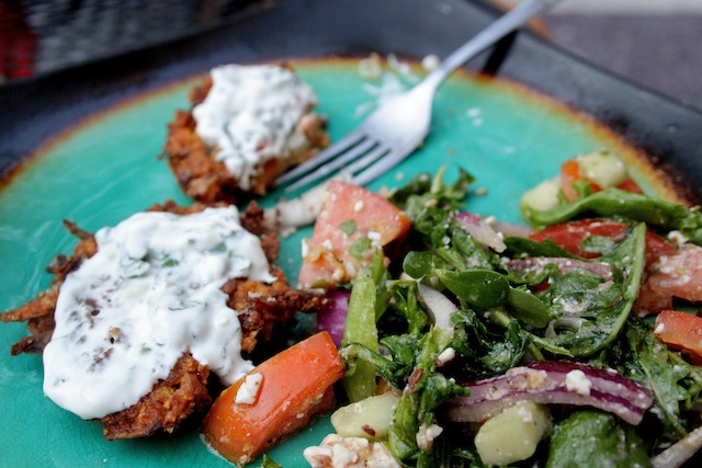 Sweet potato fritters and Greek salad (Eat Me. Drink Me.)