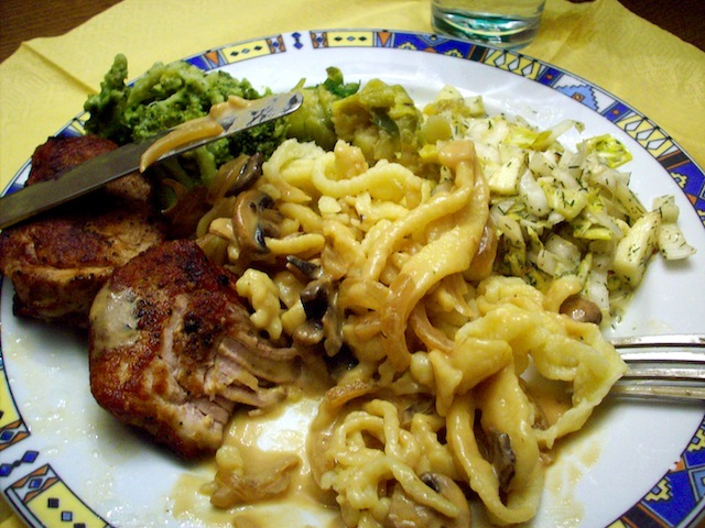 spätzle with champignons and geschnitzeltes (Eat Me. Drink Me.)