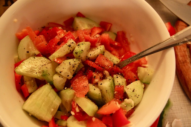 cucumber and tomato salad (Eat Me. Drink Me.)
