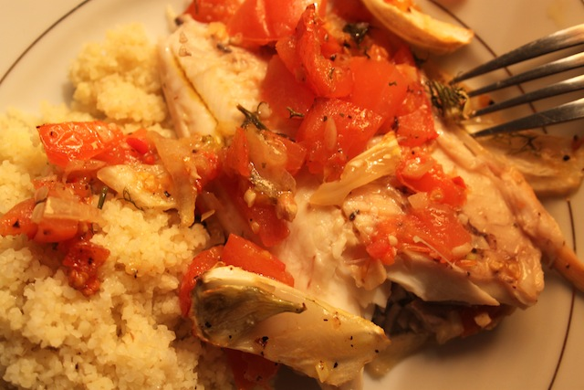 roast fish with lemon, tomato, and fennel over couscous (Eat Me. Drink Me.)