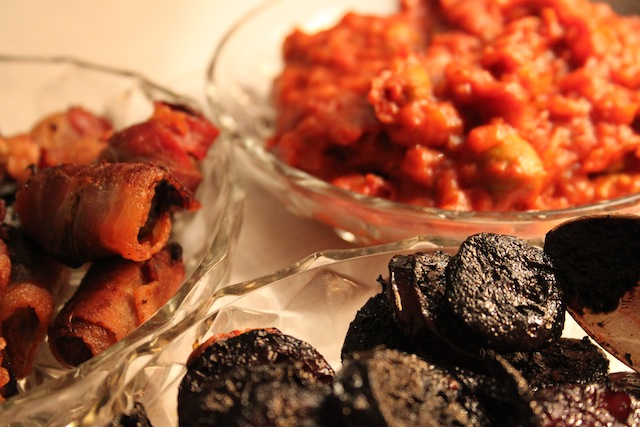 trio: dates in bacon, chorizo in wine, tomato sauce for patatas bravas (Eat Me. Drink Me.)