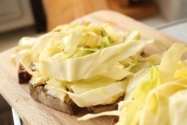 a + b = open-faced slaw sandwiches (Eat Me. Drink Me.)