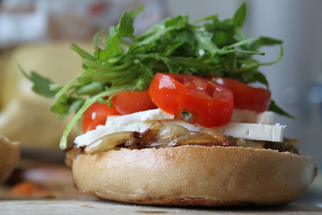 arugula, tomato and caramelized onion sandwich (Eat Me. Drink Me.)