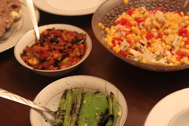 corn salsa, tomato/eggplant meze, grilled peppers (Eat Me. Drink Me.)