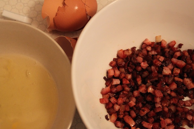 egg and pancetta for spaghetti carbonara (Eat Me. Drink Me.)