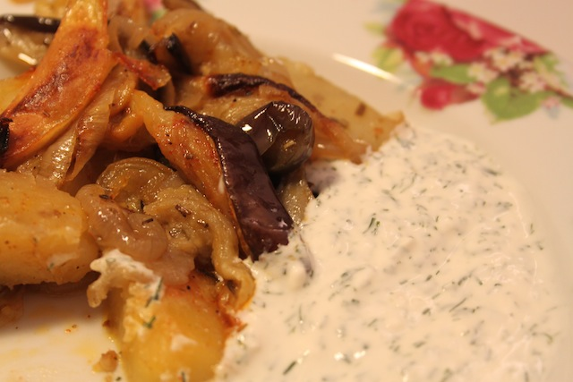 roast vegetables with tzaziki (Eat Me. Drink Me.)