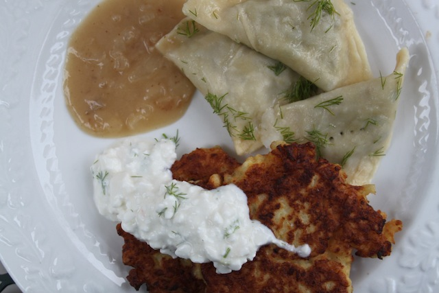 Vegetarian Pelmeny & Cauliflower Fritters with Onion Sauce (Eat Me. Drink Me.)
