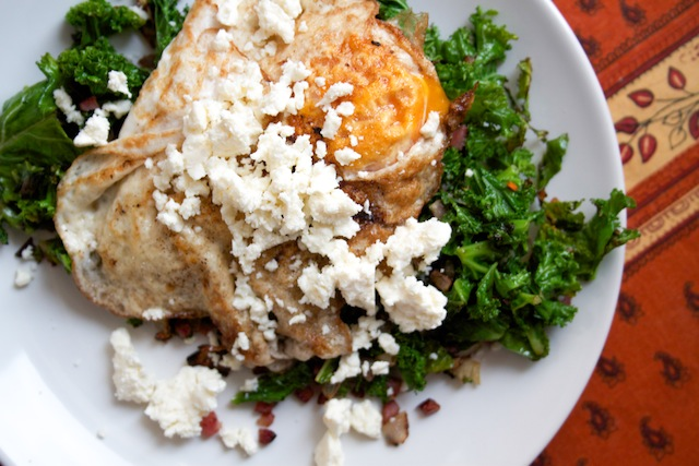 Wilted kale with fried egg and feta (Eat Me. Drink Me.)