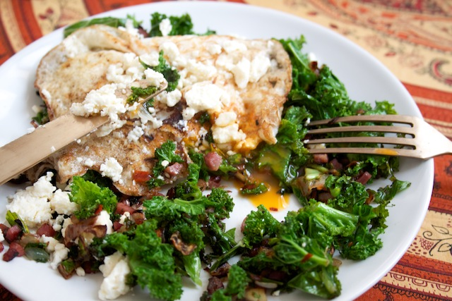 Kale and over-easy egg (Eat Me. Drink Me.)