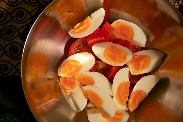 Hard boiled eggs and tomatoes (Eat Me. Drink Me.)