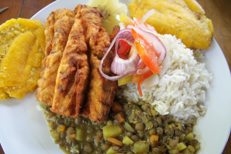 Fried pirarucu with platanos, beans and rice (Eat Me. Drink Me.)