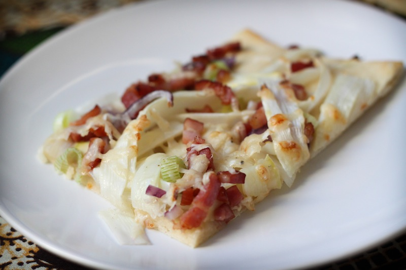 white asparagus pizza with pancetta and red onions (Eat Me. Drink Me.)