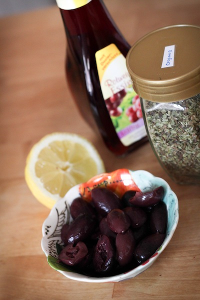Red wine vinegar, lemon, oregano, olives (Eat Me. Drink Me.)