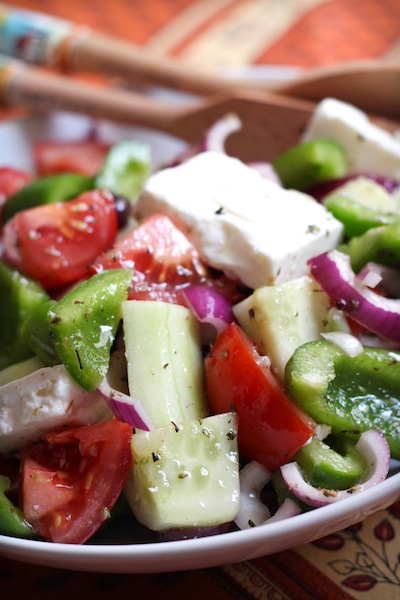 Tomatoes, green pepper, feta, cucumber, red onion (Eat Me. Drink Me.)