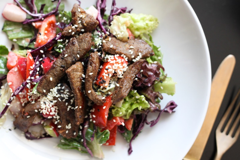 Asian-style grilled steak salad with peanut dressing (Eat Me. Drink Me.)