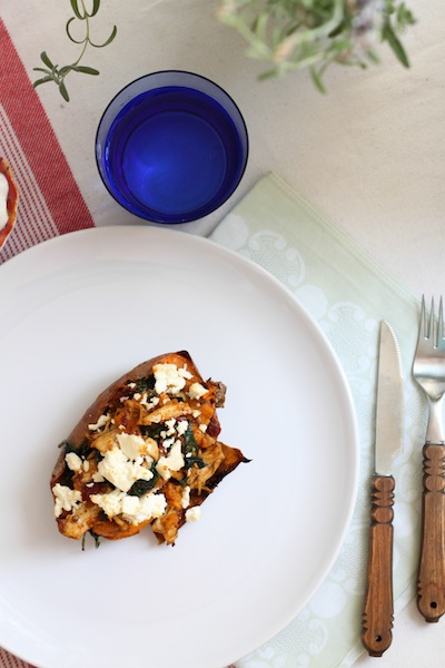 Sweet potato skins with chipotle chicken, feta, and spinach (Eat Me. Drink Me.)
