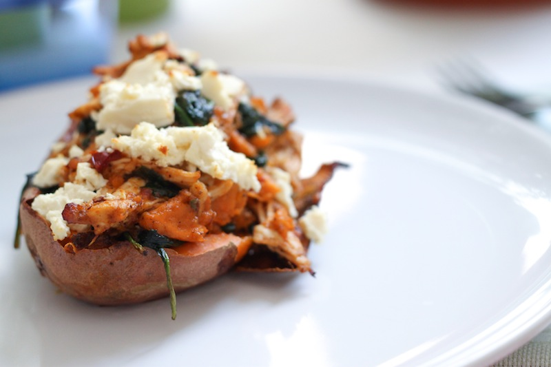 Spinach and Chipotle Chicken Sweet Potato Skins (Eat Me. Drink Me.)