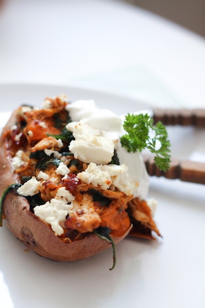 Chipotle chicken-stuffed sweet potato skins (Eat Me. Drink Me.)