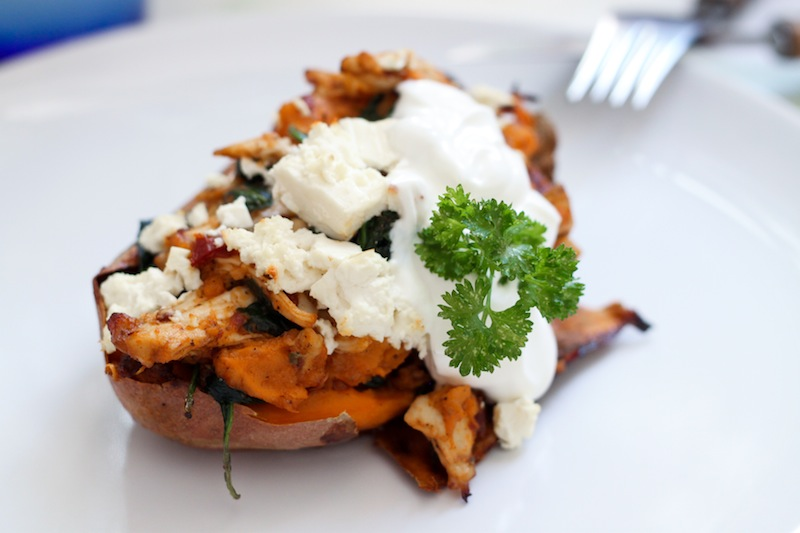Spinach- and Feta-Stuffed Chipotle Chicken Sweet Potato Skins (Eat Me. Drink Me.)