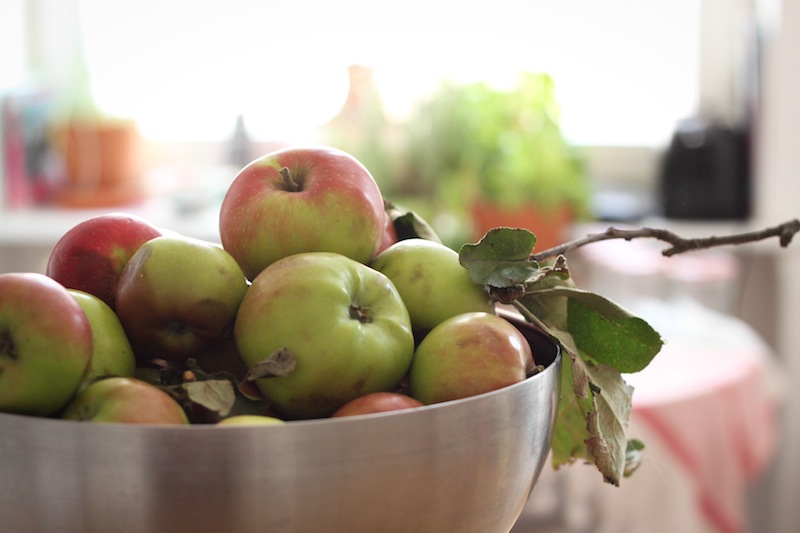A bowl of just-picked apples (Eat Me. Drink Me.)