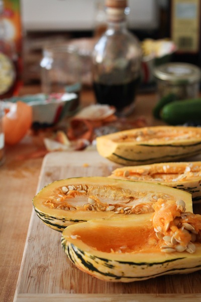 Hollowing out delicata squash (Eat Me. Drink Me.)