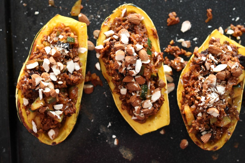 Stuffed delicata squash boats with almonds (Eat Me. Drink Me.)