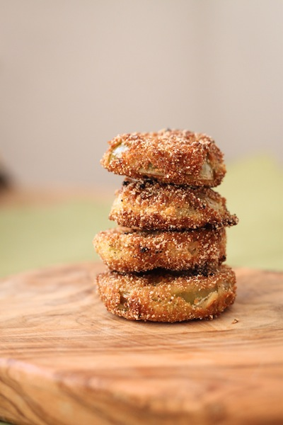 A stack of fried green tomatoes (Eat Me. Drink Me.)