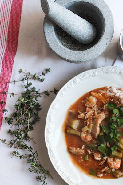 Chicken and shrimp gumbo with thyme and bay (Eat Me. Drink Me.)