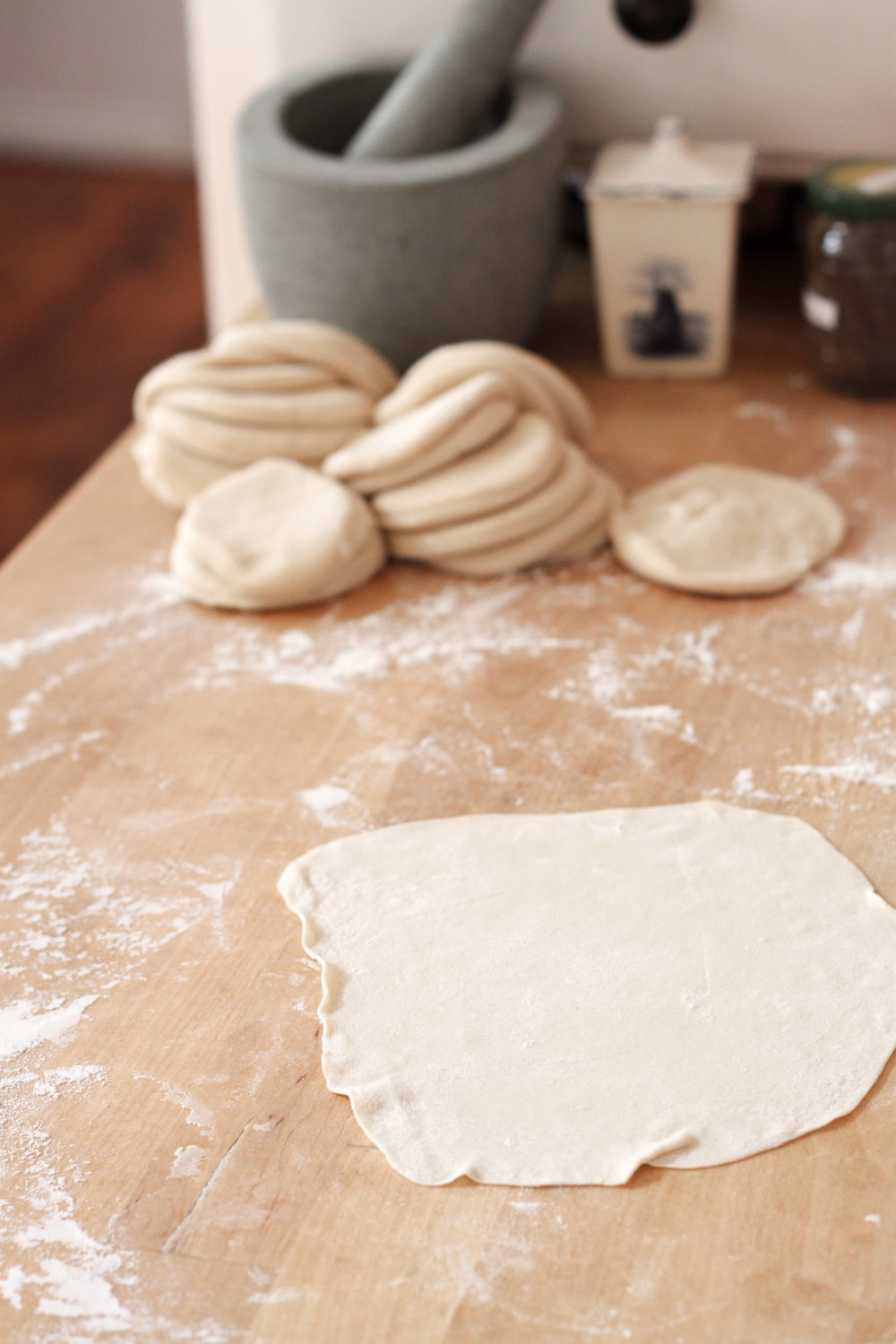 Rolling out dumpling dough (Eat Me. Drink Me.)