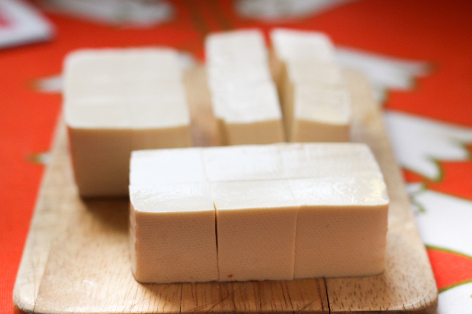 Blocks of tofu for black pepper tofu (Eat Me. Drink Me.)