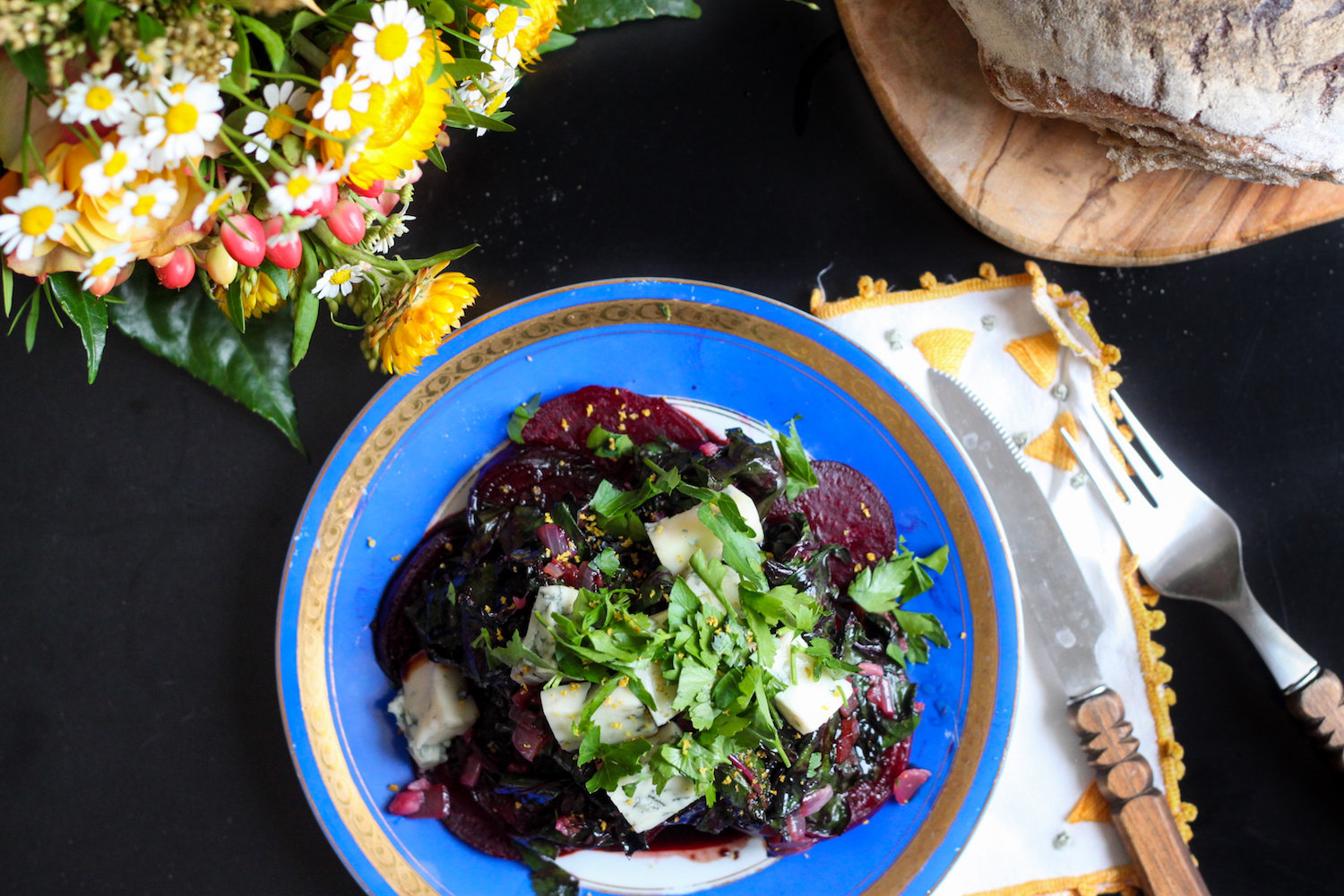 Beet salad with greens, garlic, and gorgonzola (Eat Me. Drink Me.)