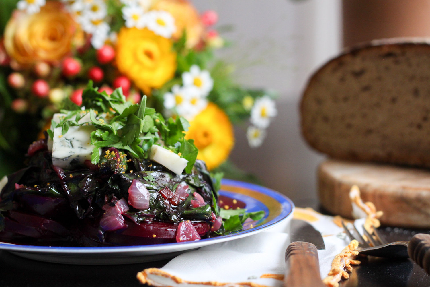Roasted beet salad with beet greens (Eat Me. Drink Me.)