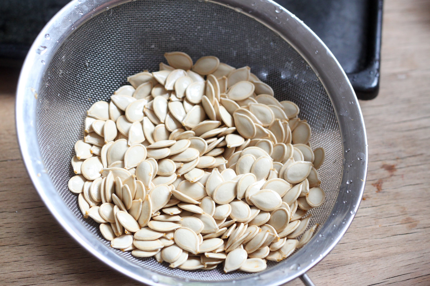 Pumpkin seeds ready for roasting (Eat Me. Drink Me.)