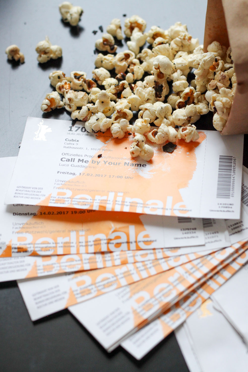 Berlinale tickets and popcorn (Eat Me. Drink Me.)