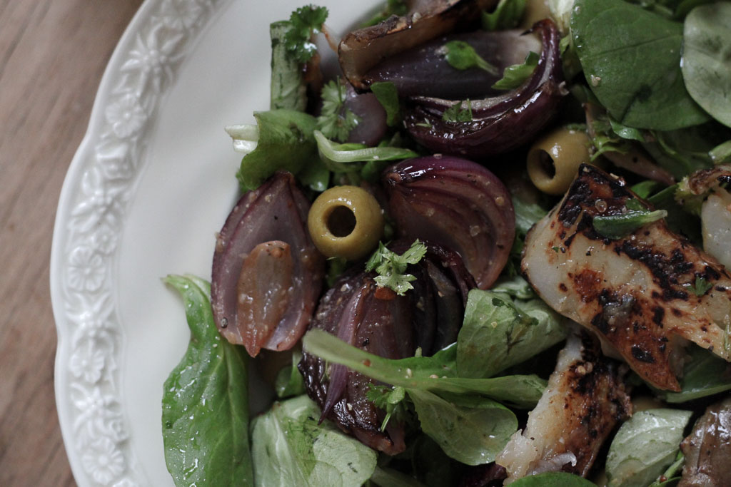Jerusalem artichoke salad with olives and red onions (Eat Me. Drink Me.)