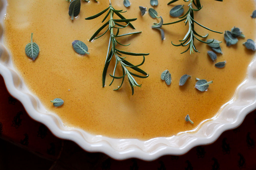 Honey glaze and herbs (Eat Me. Drink Me.)