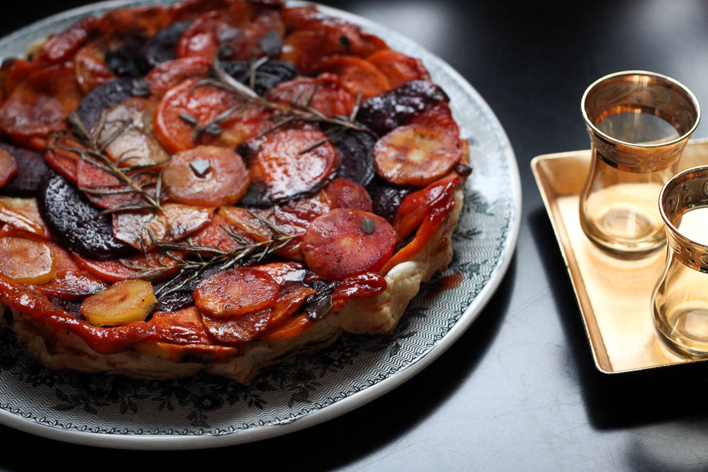 Tarte tatin with sweet potato, beetroot, and parsnip (Eat Me. Drink Me.)