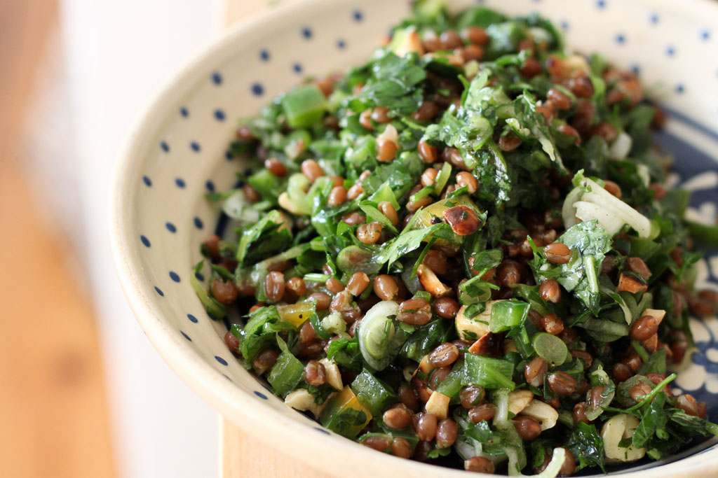Putting together parsley and wheat berry salad (Eat Me. Drink Me.)