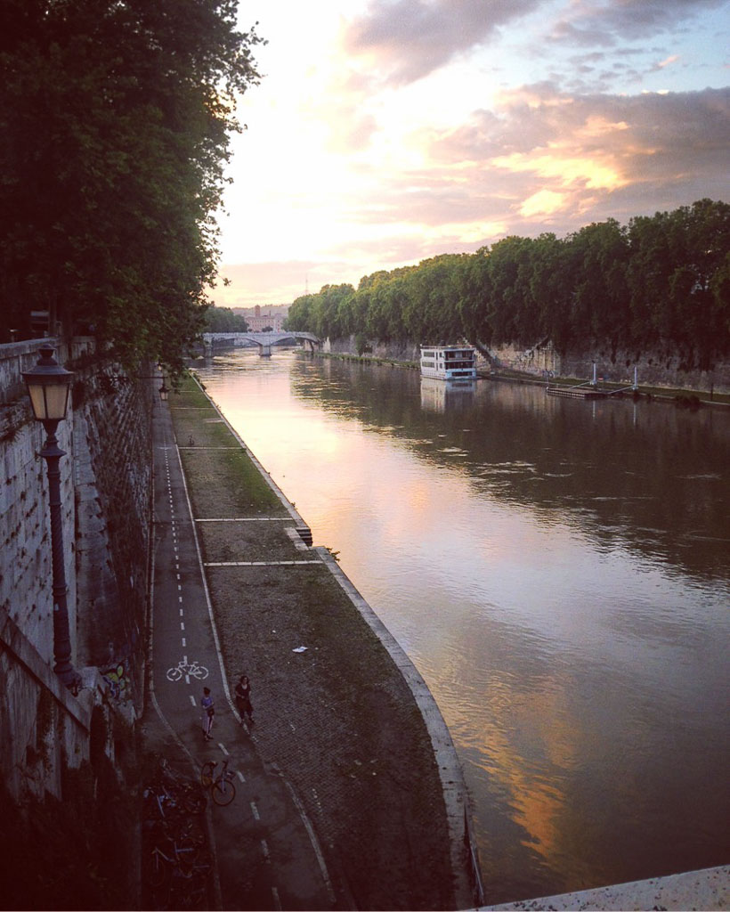 Tiber River at sunset, Rome (Eat Me. Drink Me.)