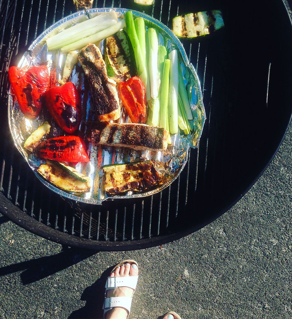 Grilling salmon and veggies (Eat Me. Drink Me.)