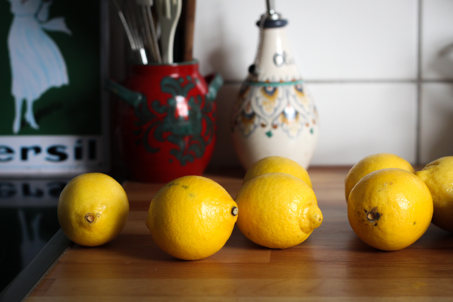 Lemons on a countertop (Eat Me. Drink Me.)
